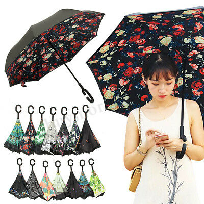 Reverse Umbrella Double Layer UV Protection Waterproof C-Handle Long Upside Down