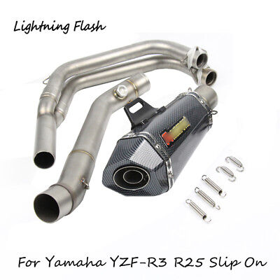 For Yamaha YZF-R3 R25 Motorcycle Exhaust System Header Tail Pipe Slip On 51mm