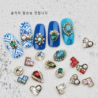 10Pcs 3D Nail Art Decoration Pearl Heart Alloy Jewelry Glitter Rhinestones