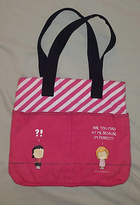 """Are You Mad Cause I'm Perfect 2006 ANGRY LITTLE GIRLS Canvas Tote Bag 9"""" Strap"""