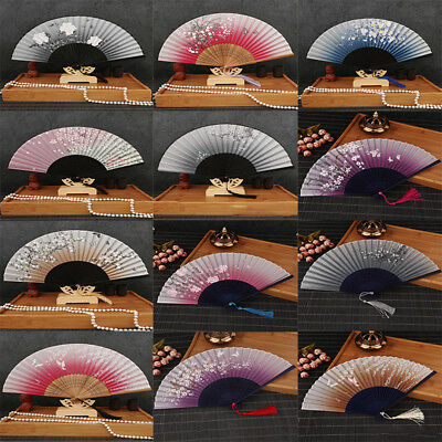 2018 Chinese Silk Flower Butterfly Folding Hand Fan Party Decoration Favors