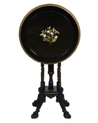 Victorian Ebonized Wood Table with Pietra Dura Top Lot 227