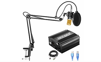 Neewer NW-800 Condenser Microphone Kit USB 48V Phantom Power Supply 6 in 1