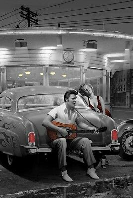 """ELVIS & MARILYN POSTER - CHRIS CONSANI - DRIVE-IN DINER - 91 x 61 cm 36 x 24"""""""