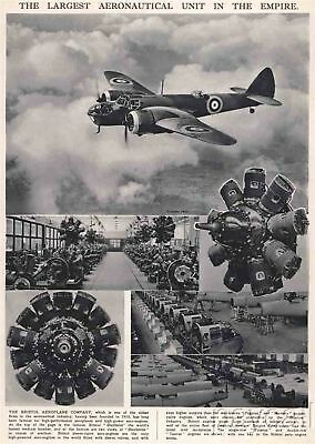 1939 Vintage Print The Bristol Aeroplane Co Airplanes Engines Bristol Blenheims