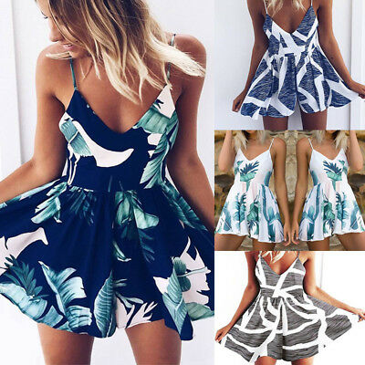 AU Womens Summer Sleeveless V Neck Playsuit Dress Ladies Backless Mini Jumpsuits