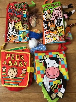 Little Jellycat Cloth Soft Baby Books x 4 Farm  Pets Tails Peek a Baby Boo Book