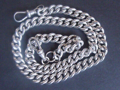 Solid 925 Silver Very Nice Vintage Albert Chain Complete 54.3grams 16.5inches