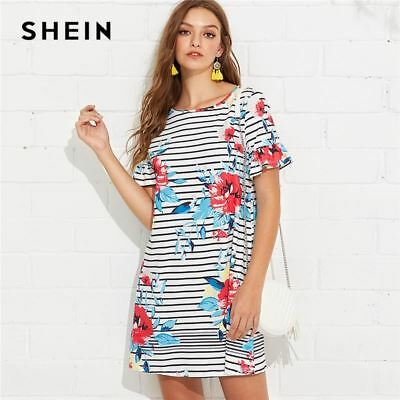 e1fa5153c5 SHEIN Multicolor Weekend Casual Floral and Striped Print Flounce Sleeve  Ruffle T