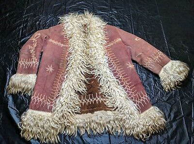 Vintage 1960s / 1970s Hippy / Rocker Childs Embroidered Shearling Afghan coat..