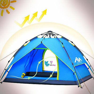 Camping Tent 2-3 Person Hydraulic Waterproof Popup Outdoor Folding Two Doors Bag
