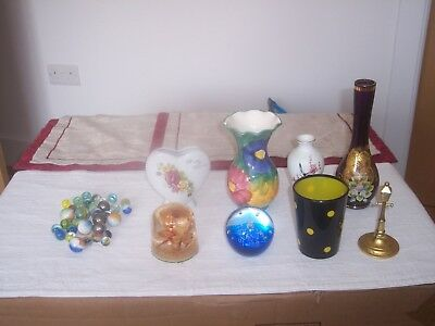 9 Assorted Decorative ornaments, Paper weights and Vases