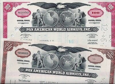 Special: 2 x Pan American World Airways Inc., New York, 1972/76  (40/100 Shares)