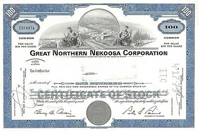 Great Northern Nekoosa Corporation, Maine, 1970  (100 Shares)