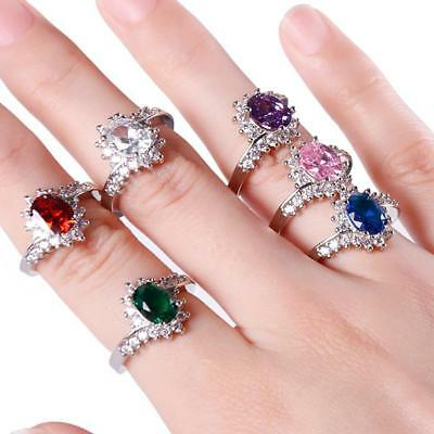 925 Sterling Silver Gems Ring Women Natural Birthstone Engagement Ring Hot