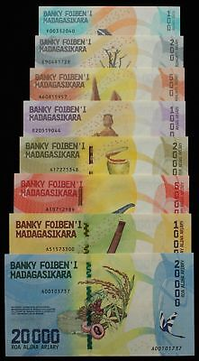 MADAGASCAR : 100 - 20000 Ariary ND (2017). P-new. UNC. (8).