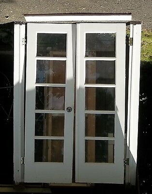 Mid Century Modern , White Vintage, 5 Pane Double Doors, With Framing