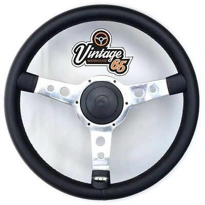 """Land Rover 2 2a 3 Classic 13"""" Polished Vinyl Steering Wheel & Boss Fitting Kit"""