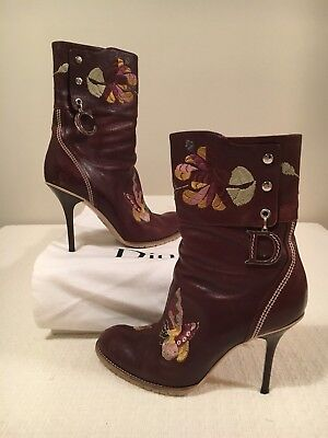 566c88c2b CHRISTIAN DIOR SHOES BOOTS 38.5 8.5 Brown Marron Stitch Detail Beautiful  Spring