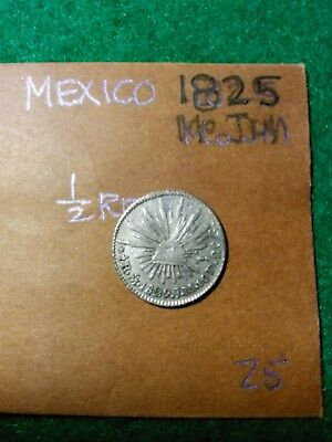 MEXICO 1825 Mo JM SILVER HALF REAL. HIGH GRADE
