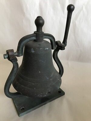 Antique Bronze Bell Mounted on Arched Stand with Handle