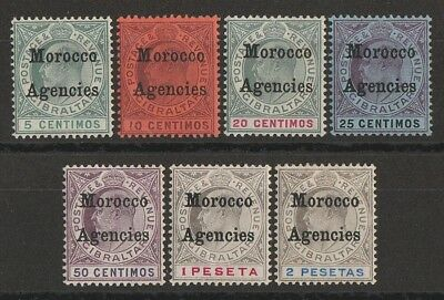 MOROCCO AGENCIES 1905 KEVII Gibraltar set 5c-2P, wmk mult crown.