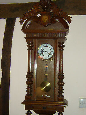 Antique Austrian Pendulum Regulator Wall Clock Ornate Snowdrops 1870-1895?