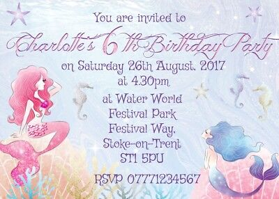 4 Personalised Mermaid Party Invitations or Thank you Cards & Envelopes