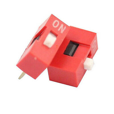10pcs 2.54mm Red Pitch 8-Bit 1 Positions Ways Slide Type DIP Switch SalesecG2ED