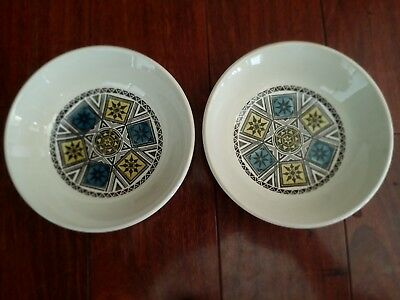 2 Biltons Blue Yellow Cereal Bowls Mid Century Modern Retro Atomic
