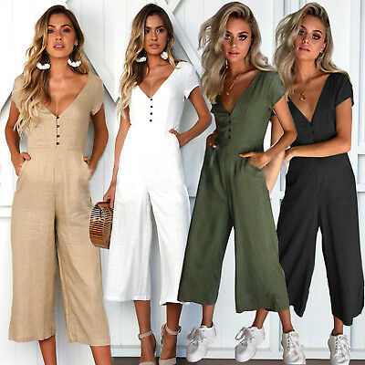 UK Womens Short Sleeve Wide Leg Trousers V Neck Jumpsuits Playsuit Culotte 6-16