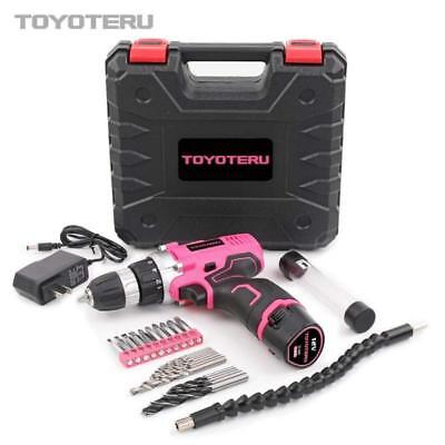 Toyoteru Powerful 12 Volt Lithium-Ion Cordless Drill Driver Kit Pink Tool For Wo