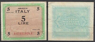 ITALIEN - ITALY 5 Lire Banknote 1943 VF (3) Allied Military Pick 12b  (20000