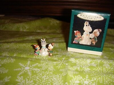 Hallmark Miniature 1995 The Flintstones Pebbles And Bamm Bamm Ornament