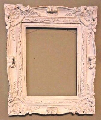Vintage Ornate White Picture Frame for Painting 16 X 12 Opening With Stretcher