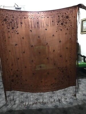 "Antique Chinese Hand Embroidered Silk Piano Shawl 62"" X 62"" Fringe 10"" Chocolate"