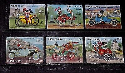 Union Island Disney Characters Mickey Mouse,donald Duck, Set Of 6 Fine M/n/h