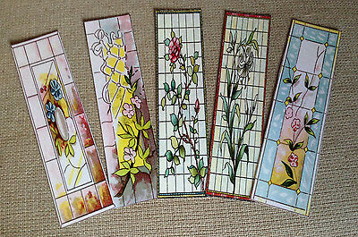 Set of 5 Laminated Bookmarks with Stained Glass Designs - Set B