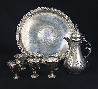 Amazing Antique Turkish Sterling Silver Tea Set with 6 Unique Cups & Tray 1234gr