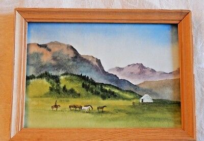 Original small framed watercolor painting horses mountain camp, signed on back