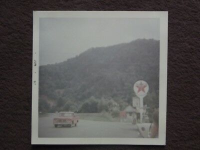RED PICK UP TRUCK NEXT TO TEXACO SIGN Vtg 1967 PHOTO