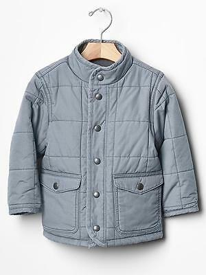 Baby Gap Toddler Boys Quilted Jacket Coat Blue Gray 12 18 2t Nwt