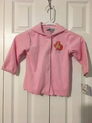 Disney Store 24 Month Pink Terry Little Mermaid Ariel Hooded Coverup Jacket NWT