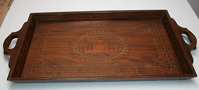 Vintage All Wood Inlaid Serving Tray.
