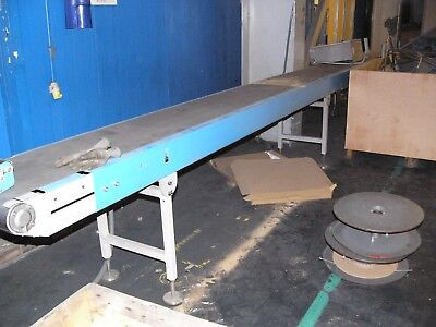 MULLER MARTINI BELT CONVEYOR  400mm wide x 7m long with raise/lower section