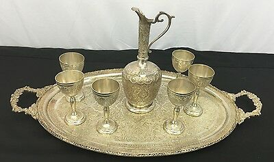 Beautiful Antique Persian Silver Tea Set With Excellent Persian Motif Details