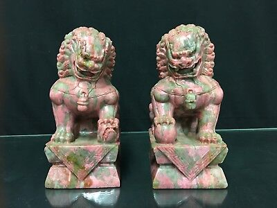 Amazing Pair Of Antique Chinese Soapstone Statutes Of Guardian Temple Foo Lions