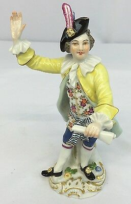 Beautiful Antique Meissen Figure of Young Man with Excellent Details
