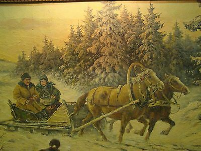 Beautiful Winter Scene Russian Painting Signed by Artist Early 1900s Antique