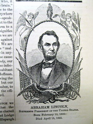 1865 Civil War newspaper w illustrated notice DEATH of PRESIDENT ABRAHAM LINCOLN